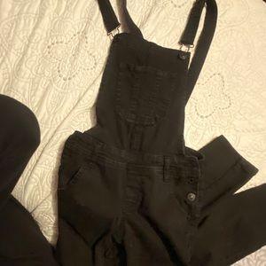 Black skinny jean overalls